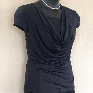 Tops - Short sleeve shirt. Cowl neck top layer.